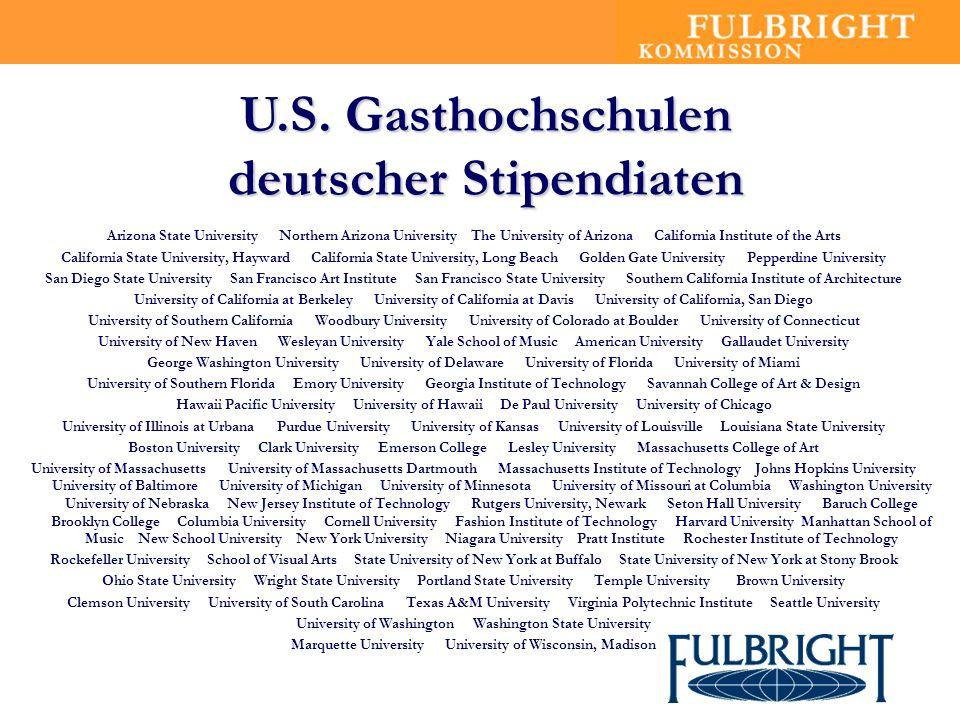 U.S. Gasthochschulen deutscher Stipendiaten