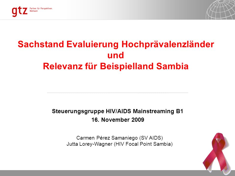 Steuerungsgruppe HIV/AIDS Mainstreaming B1