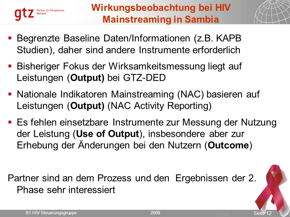 Wirkungsbeobachtung bei HIV Mainstreaming in Sambia