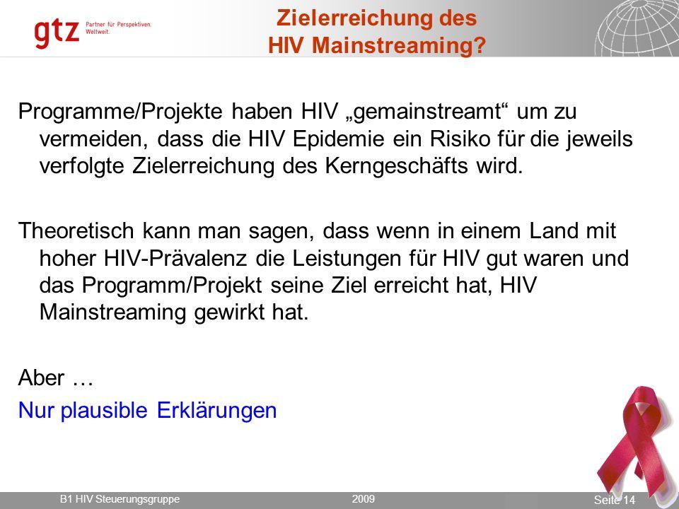 Zielerreichung des HIV Mainstreaming