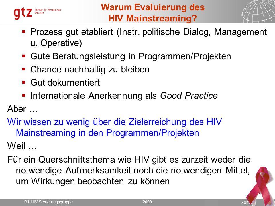 Warum Evaluierung des HIV Mainstreaming