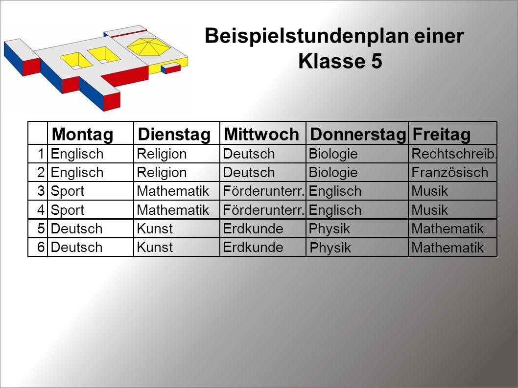 Beispielstundenplan einer Klasse 5