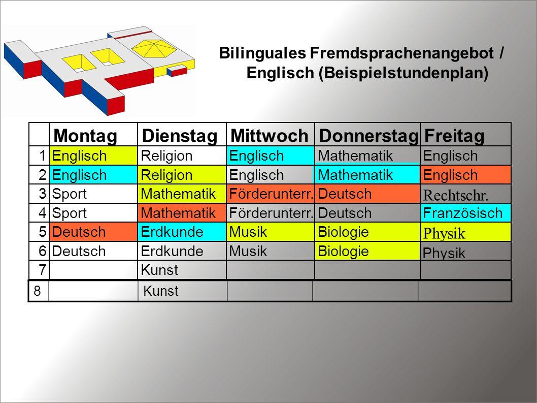 Bilinguales Fremdsprachenangebot / Englisch (Beispielstundenplan)