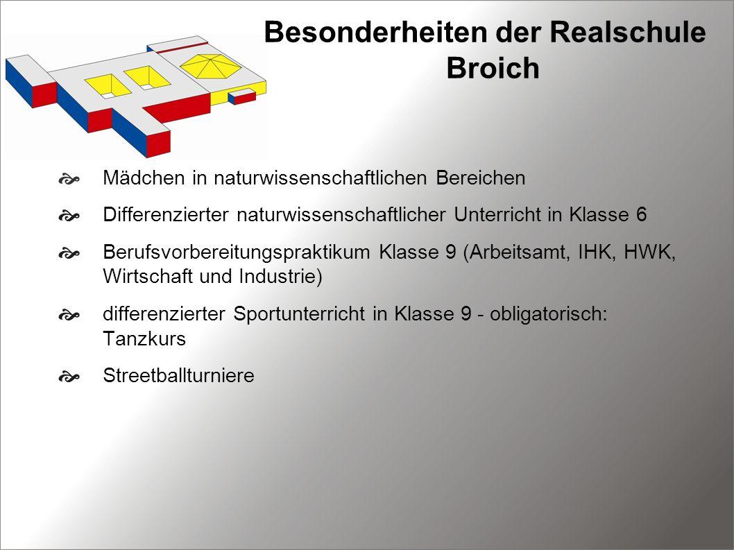 Besonderheiten der Realschule Broich