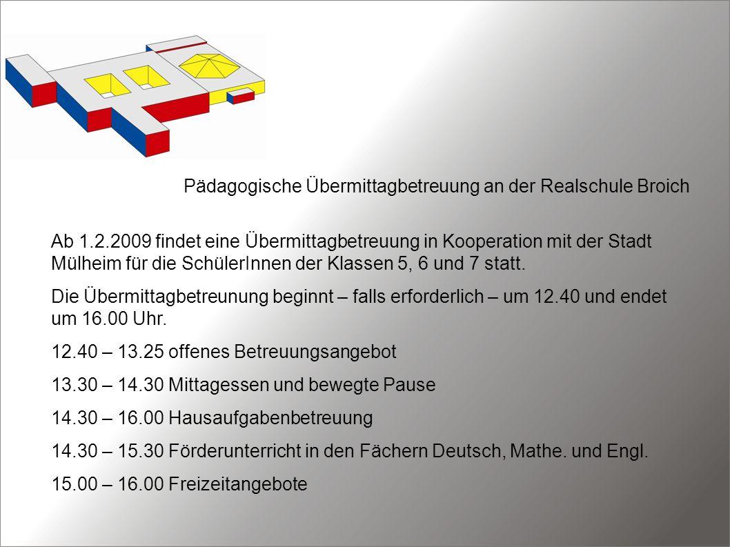 Pädagogische Übermittagbetreuung an der Realschule Broich