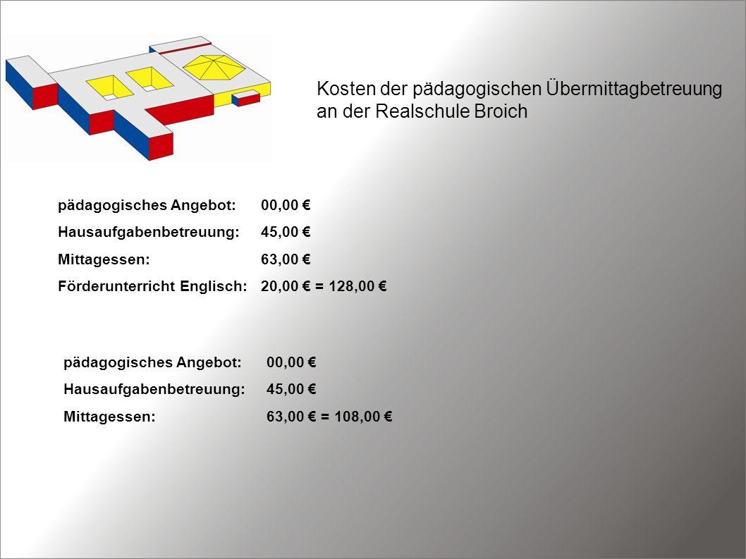 Kosten der pädagogischen Übermittagbetreuung an der Realschule Broich