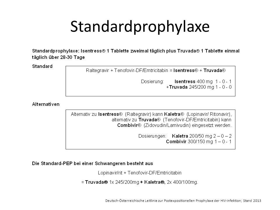 Standardprophylaxe Deutsch-Österreichische Leitlinie zur Postexpositionellen Prophylaxe der HIV-Infektion; Stand 2013.