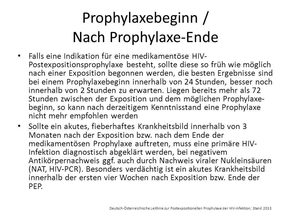 Prophylaxebeginn / Nach Prophylaxe-Ende