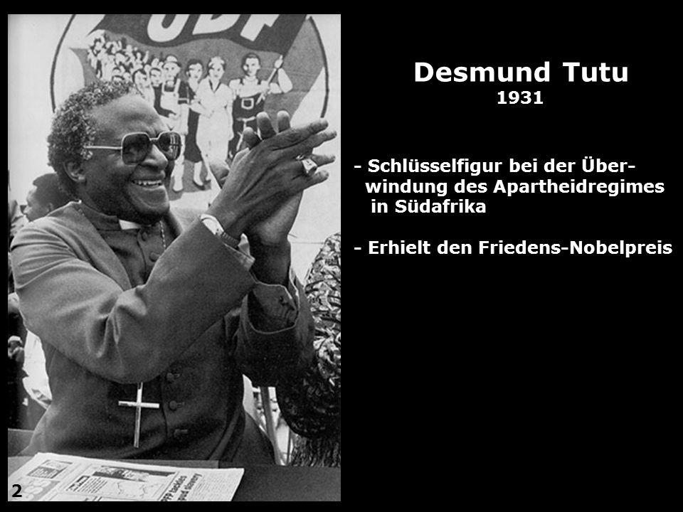 Desmund Tutu 1931 - Schlüsselfigur bei der Über-