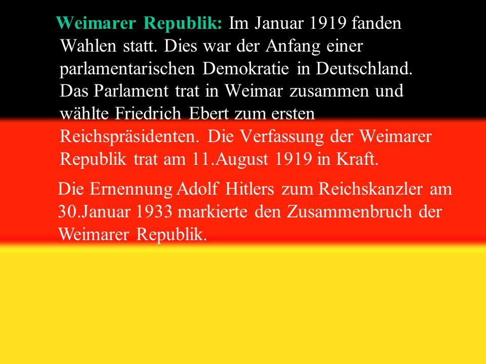 Weimarer Republik: Im Januar 1919 fanden Wahlen statt