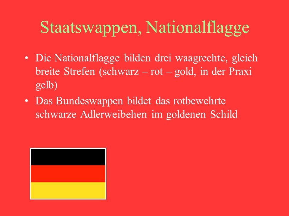Staatswappen, Nationalflagge
