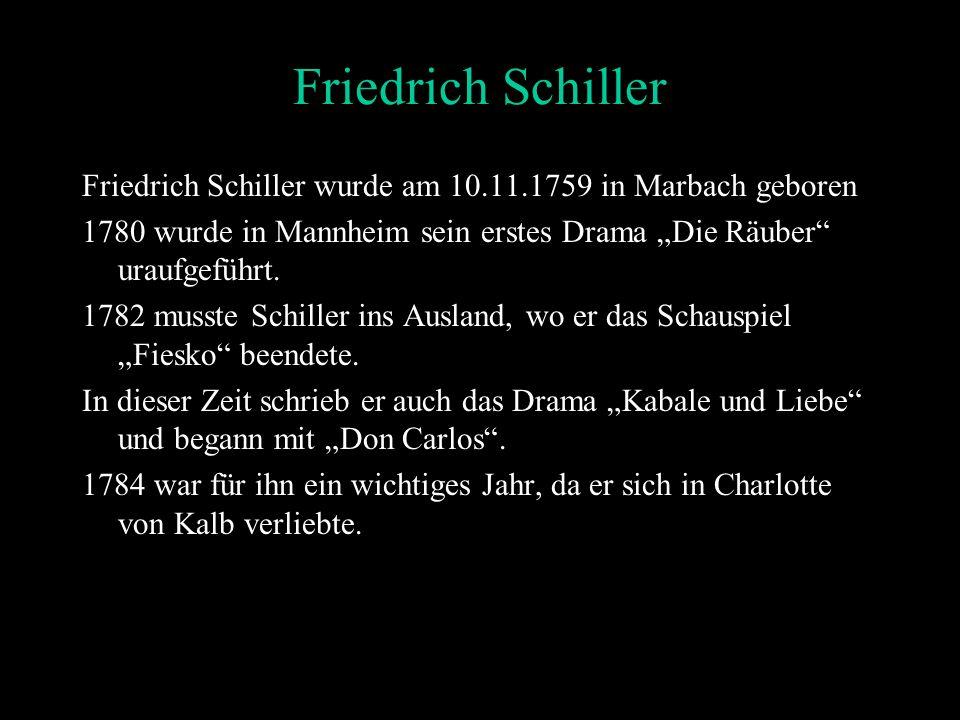 """Friedrich Schiller Friedrich Schiller wurde am 10.11.1759 in Marbach geboren. 1780 wurde in Mannheim sein erstes Drama """"Die Räuber uraufgeführt."""