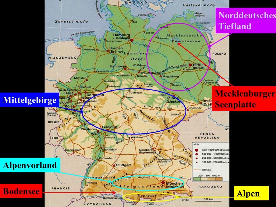 Norddeutsches Tiefland Mecklenburger Seenplatte Mittelgebirge Alpenvorland Bodensee Alpen