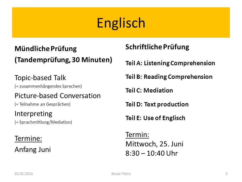 Englisch Mündliche Prüfung (Tandemprüfung, 30 Minuten)