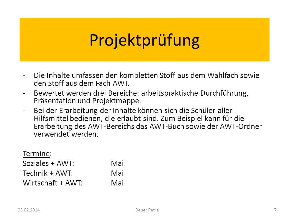 Projektprüfung Die Inhalte umfassen den kompletten Stoff aus dem Wahlfach sowie den Stoff aus dem Fach AWT.