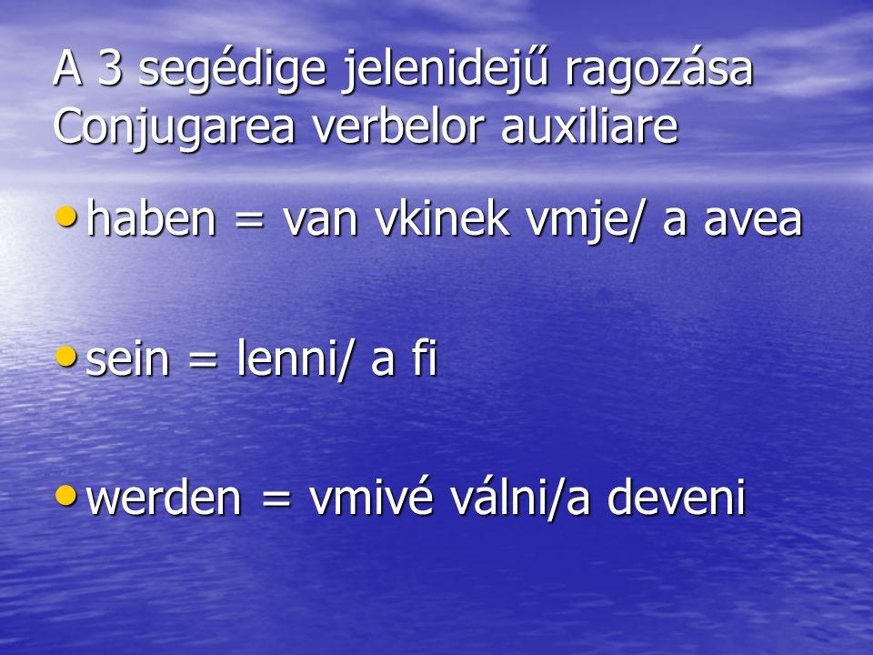 A 3 segédige jelenidejű ragozása Conjugarea verbelor auxiliare
