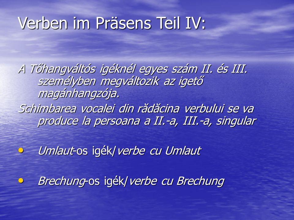 Verben im Präsens Teil IV: