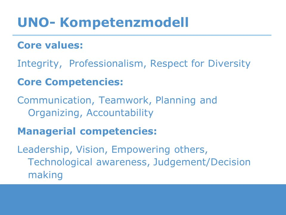 UNO- Kompetenzmodell Core values: