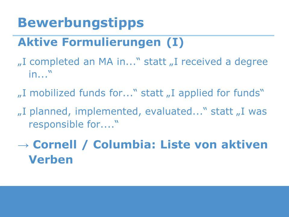 Bewerbungstipps Aktive Formulierungen (I)