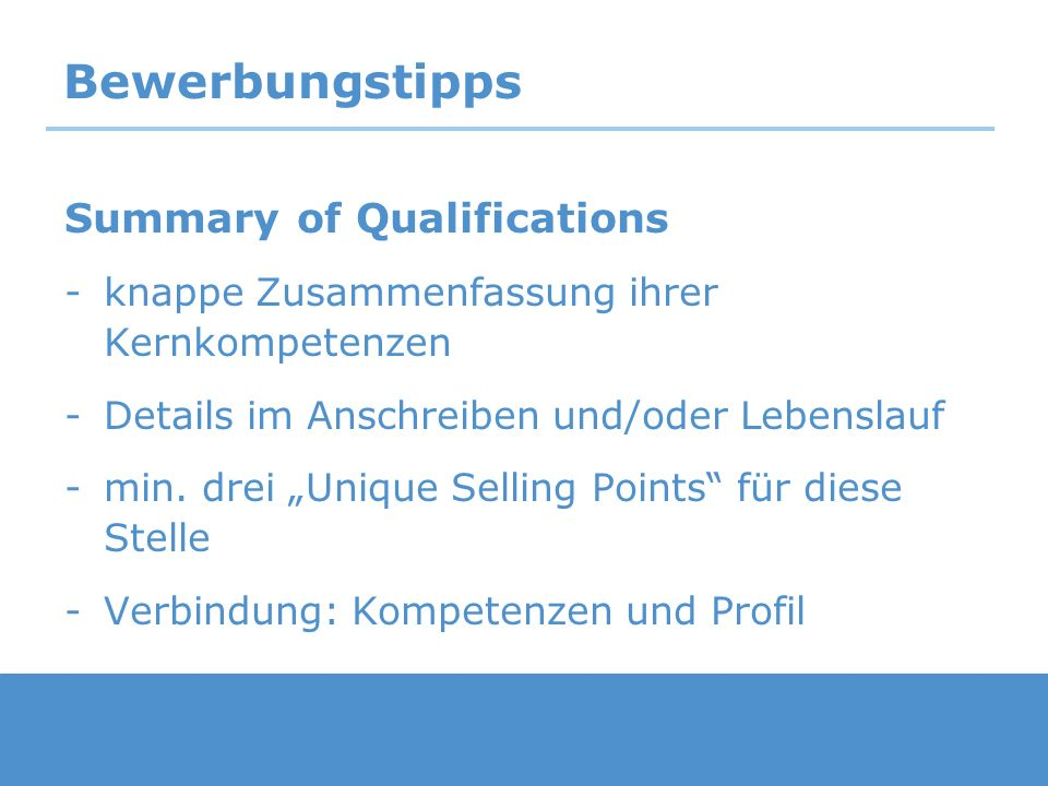 Bewerbungstipps Summary of Qualifications