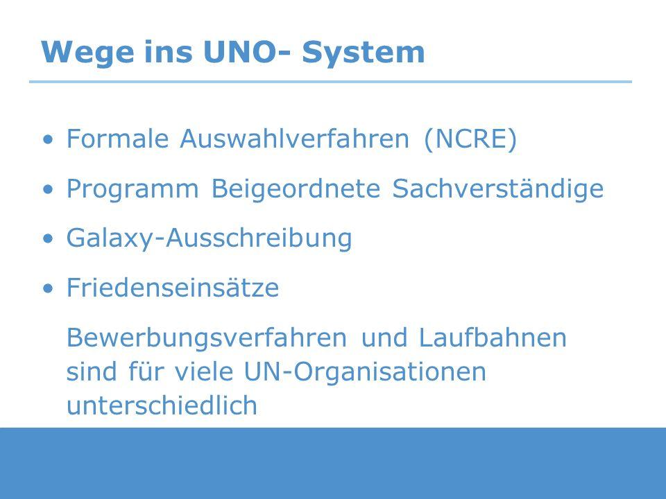 Wege ins UNO- System Formale Auswahlverfahren (NCRE)