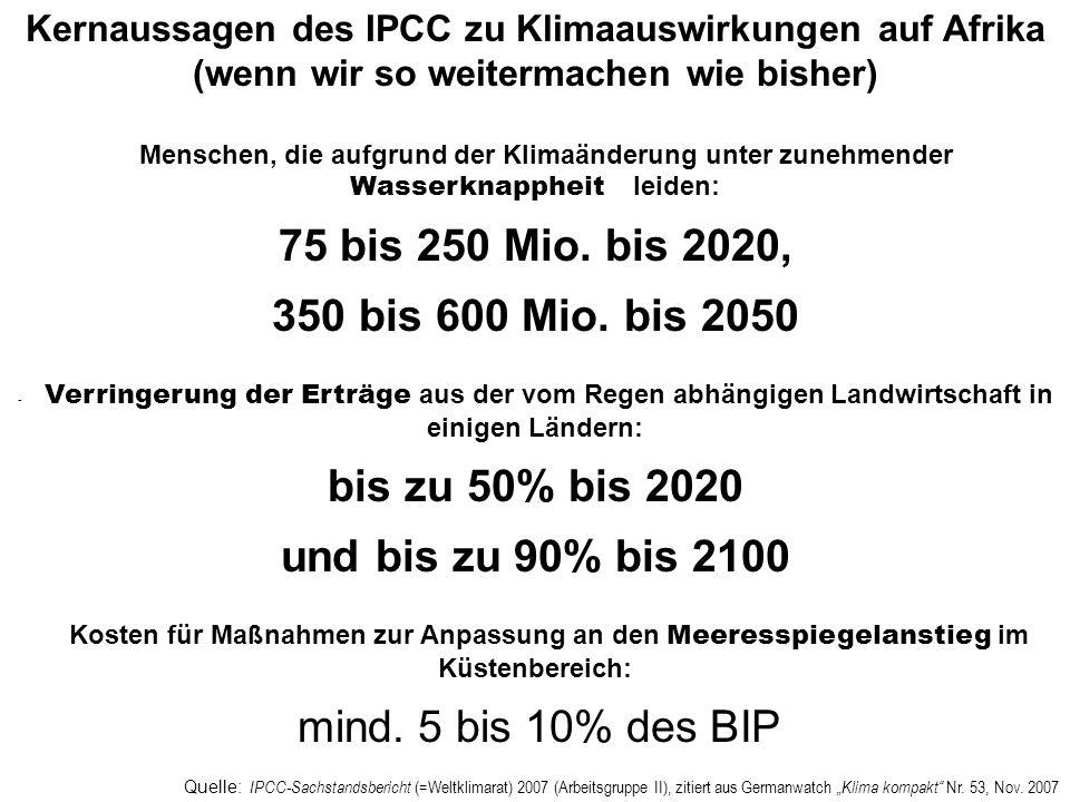 Kernaussagen des IPCC zu Klimaauswirkungen auf Afrika (wenn wir so weitermachen wie bisher)