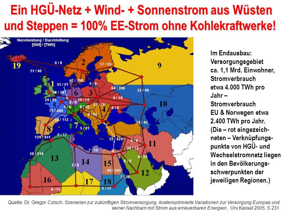 Ein HGÜ-Netz + Wind- + Sonnenstrom aus Wüsten und Steppen = 100% EE-Strom ohne Kohlekraftwerke!