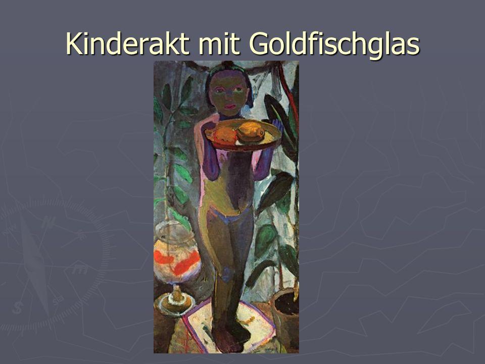 Kinderakt mit Goldfischglas