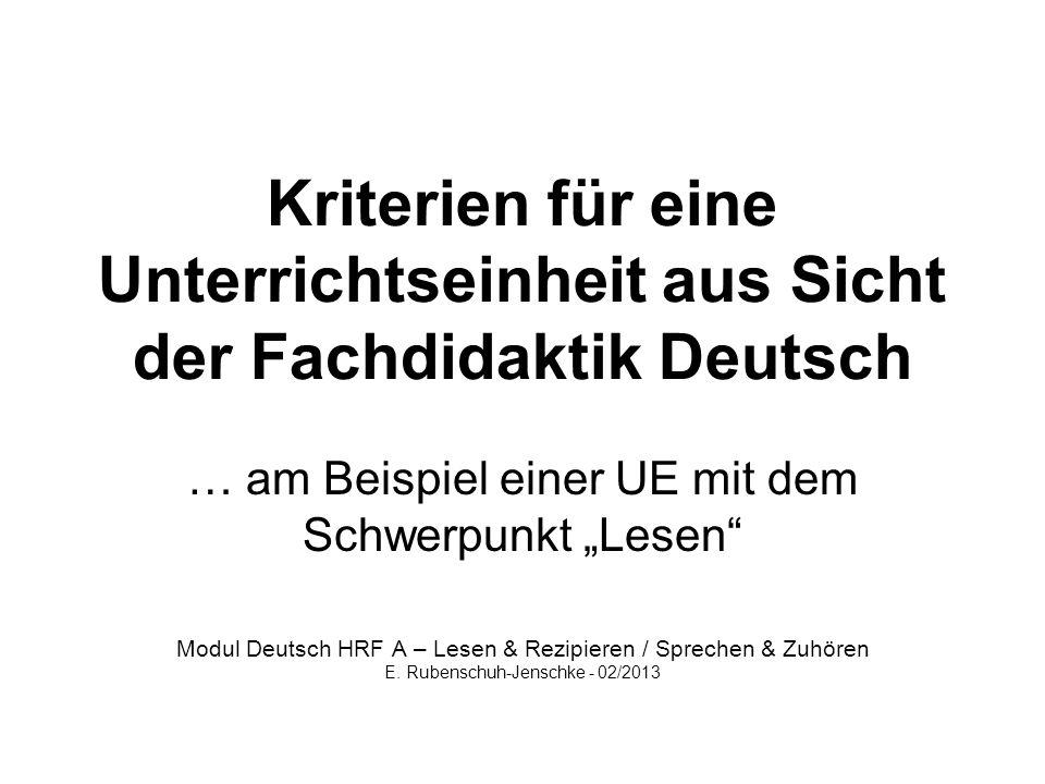 """… am Beispiel einer UE mit dem Schwerpunkt """"Lesen"""