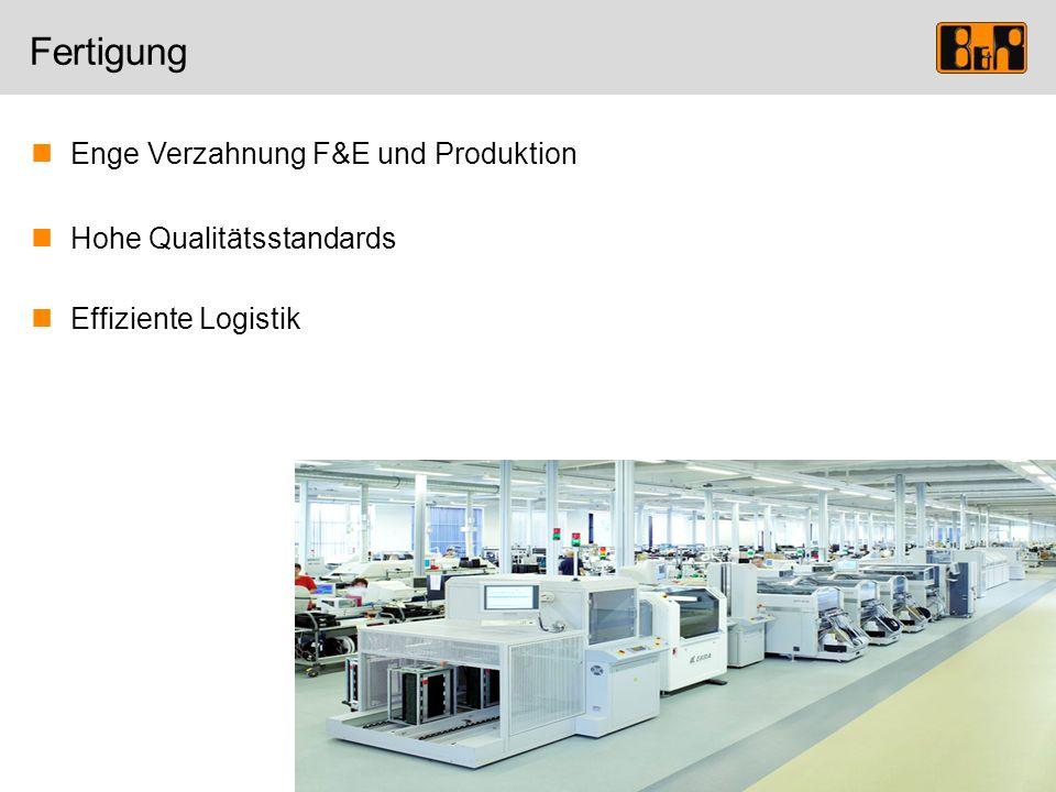 Fertigung Enge Verzahnung F&E und Produktion Hohe Qualitätsstandards