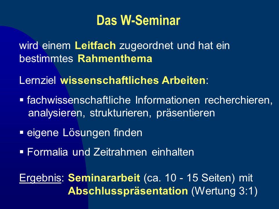 Das W-Seminar wird einem Leitfach zugeordnet und hat ein bestimmtes Rahmenthema. Lernziel wissenschaftliches Arbeiten: