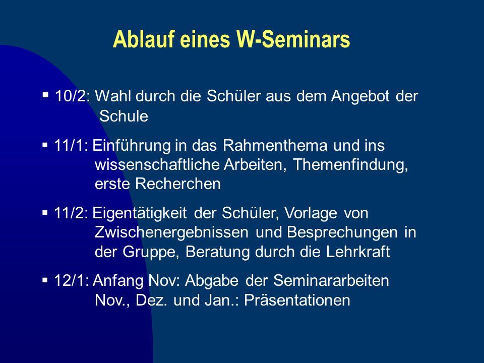 Ablauf eines W-Seminars