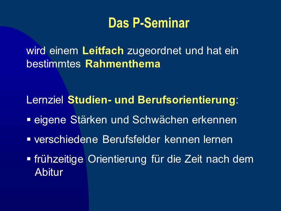 Das P-Seminar wird einem Leitfach zugeordnet und hat ein bestimmtes Rahmenthema. Lernziel Studien- und Berufsorientierung: