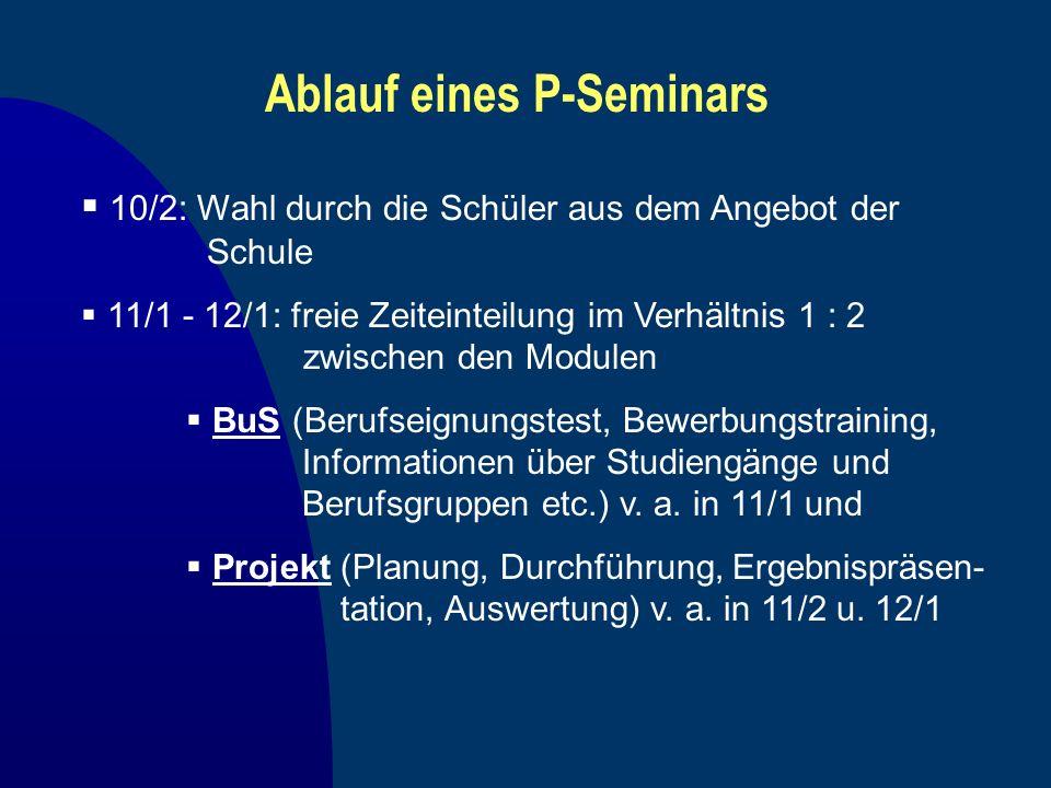 Ablauf eines P-Seminars