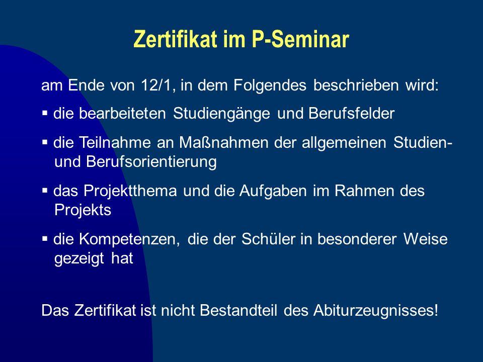 Zertifikat im P-Seminar