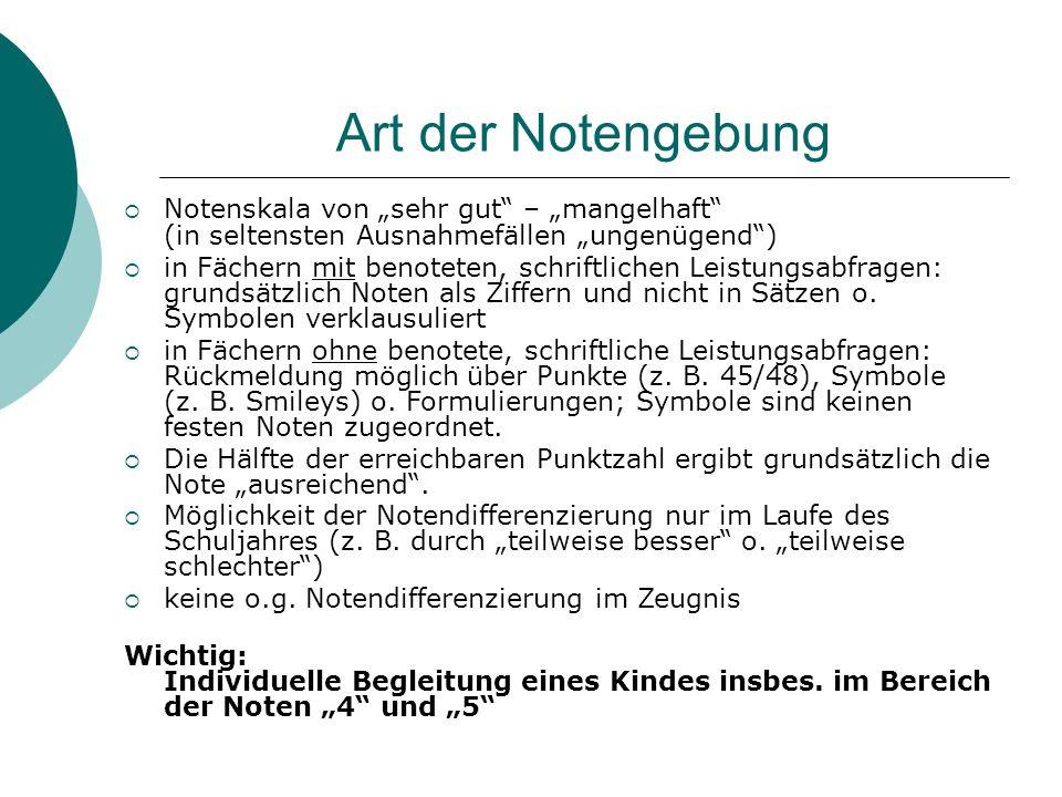 """Art der Notengebung Notenskala von """"sehr gut – """"mangelhaft (in seltensten Ausnahmefällen """"ungenügend )"""