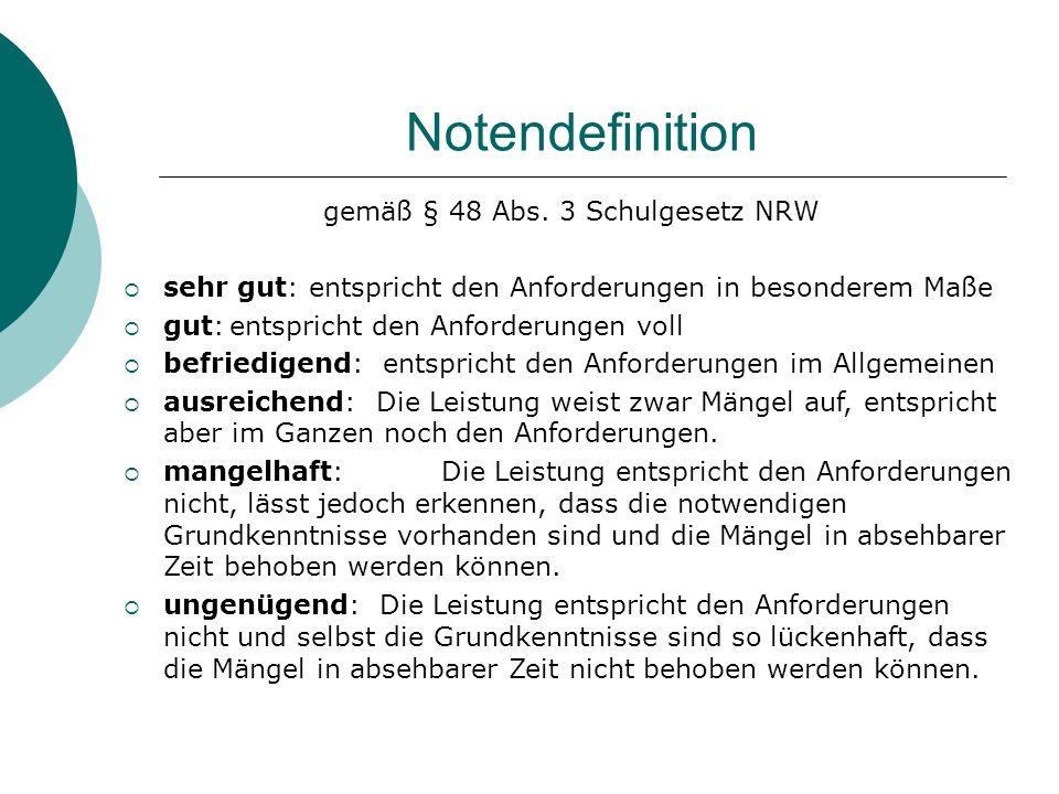 gemäß § 48 Abs. 3 Schulgesetz NRW
