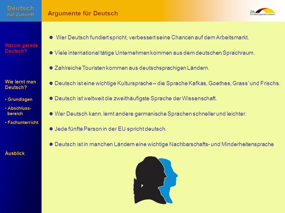 Argumente für Deutsch  Wer Deutsch fundiert spricht, verbessert seine Chancen auf dem Arbeitsmarkt.