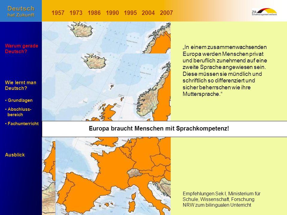 1957 1973. 1986. 1990. 1995. 2004. 2007. Entwicklung der EU.