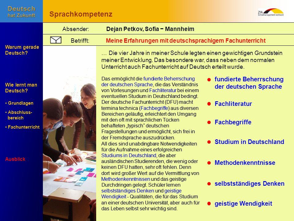 Sprachkompetenz fundierte Beherrschung der deutschen Sprache