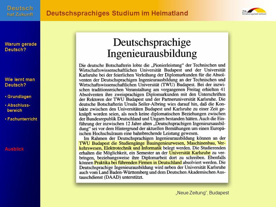 Deutschsprachiges Studium im Heimatland