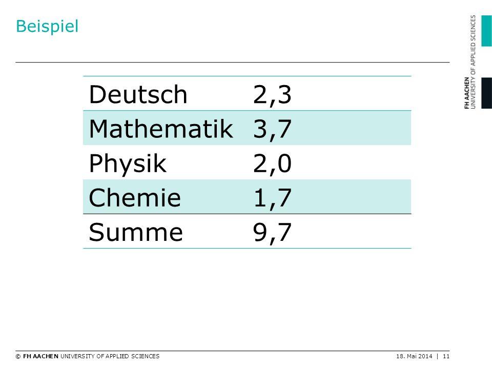 Beispiel Deutsch 2,3 Mathematik 3,7 Physik 2,0 Chemie 1,7 Summe 9,7