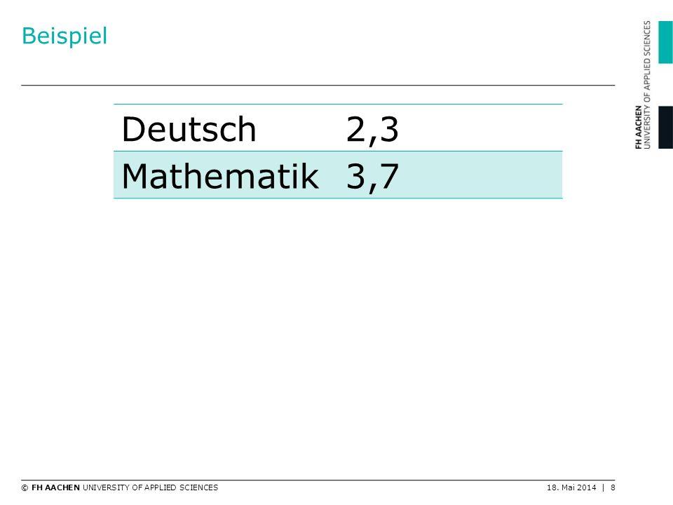 Beispiel Deutsch 2,3 Mathematik 3,7