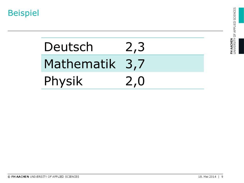 Beispiel Deutsch 2,3 Mathematik 3,7 Physik 2,0