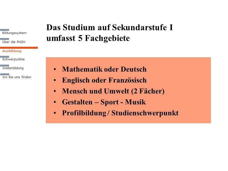 Das Studium auf Sekundarstufe I umfasst 5 Fachgebiete