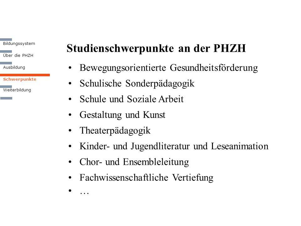 Studienschwerpunkte an der PHZH