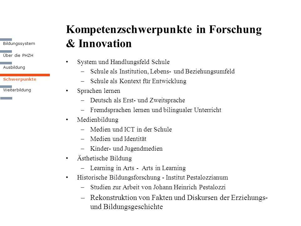 Kompetenzschwerpunkte in Forschung & Innovation