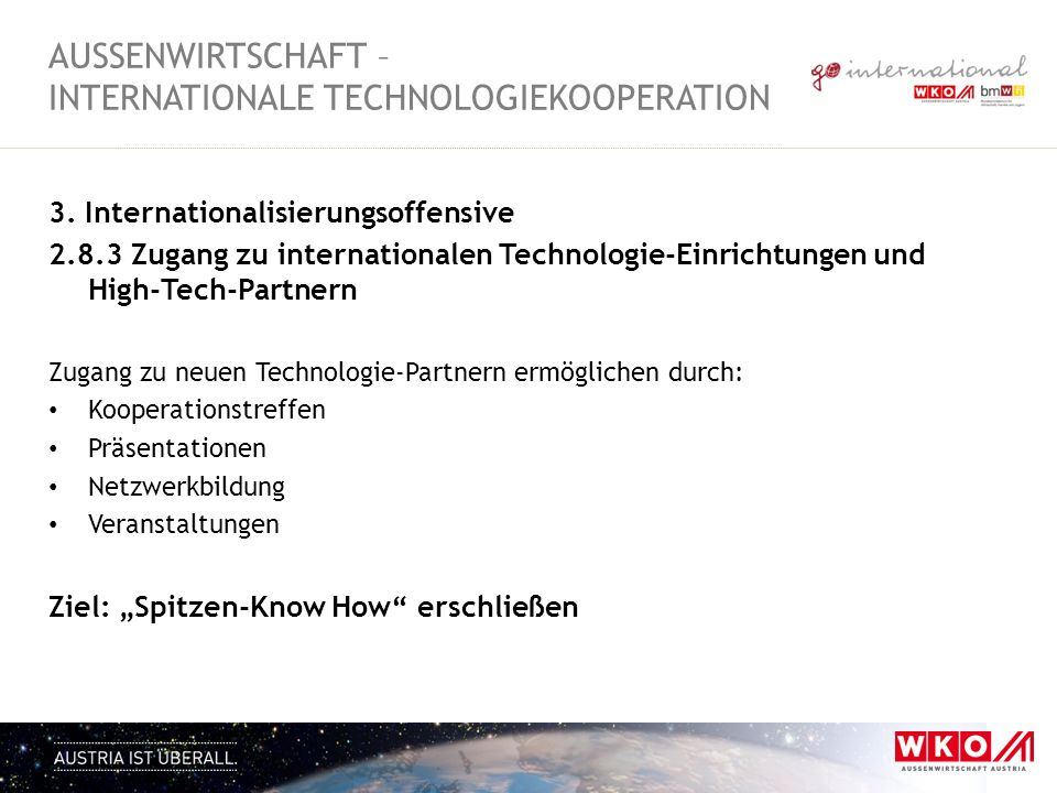AUSSENWIRTSCHAFT – Internationale Technologiekooperation