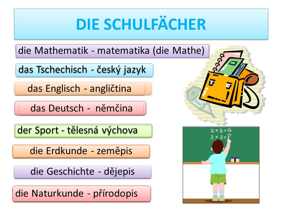 DIE SCHULFÄCHER die Mathematik - matematika (die Mathe)