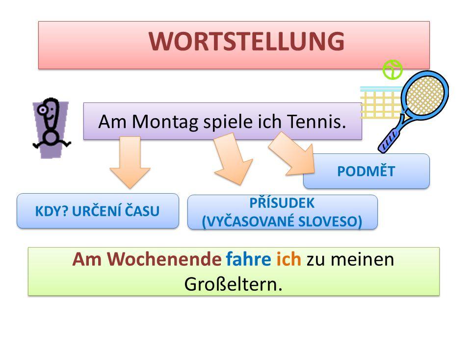 WORTSTELLUNG Am Montag spiele ich Tennis.
